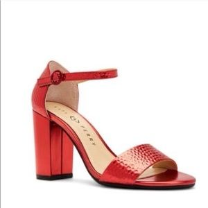 Katy Perry Red Hammered Finish Sandals